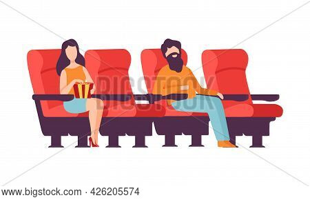 Man And Woman Sitting In Cinema Or Movie Theater Viewing Film For Entertainment Vector Illustration
