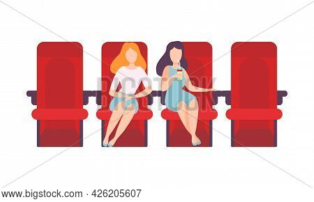 Woman Sitting In Cinema Or Movie Theater Viewing Film For Entertainment Vector Illustration