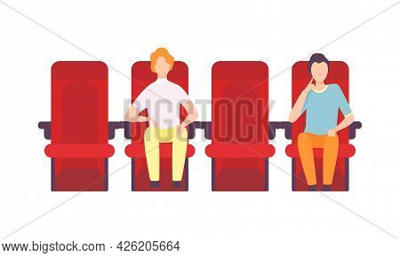 Man Sitting In Cinema Or Movie Theater Viewing Film For Entertainment Vector Illustration