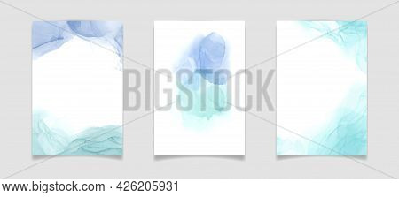Teal Blue And Mint Colored Liquid Watercolor Background. Luxury Minimal Turquoise Hand Drawn Fluid A