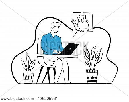 Man Working At His Desk At Home