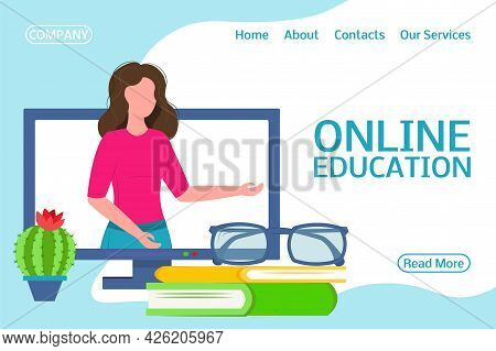 Landing Page Online Training. The Girl From The Computer Teaches. Flat Design Concept Of Education F