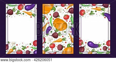 Collection Of Vertical Banners With Vegetables. Healthy Eating. Vector Illustration. Fresh Vegetable