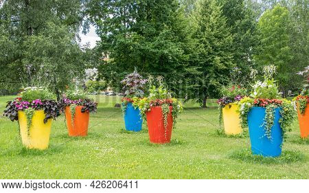 Large Flowerpots Adorning The City Park. Urban Landscapening