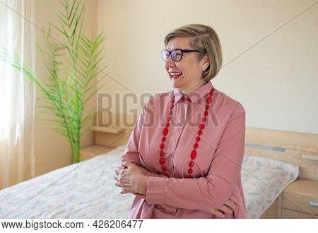 Happy Fashionable Senior Woman Gray Hair Senior Woman, Middle Aged Maturesmiling Old Woman Wearing B