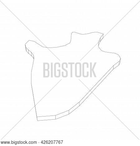 Burundi - 3d Black Thin Outline Silhouette Map Of Country Area. Simple Flat Vector Illustration.