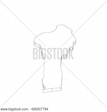 Benin - 3d Black Thin Outline Silhouette Map Of Country Area. Simple Flat Vector Illustration.