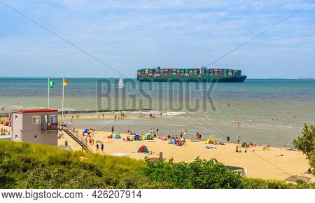 Tokyo Triumph Sailing On The Ocean During Summer Season, Container Transport, Breskens, Zeeland, The