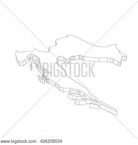 Croatia - 3d Black Thin Outline Silhouette Map Of Country Area. Simple Flat Vector Illustration.
