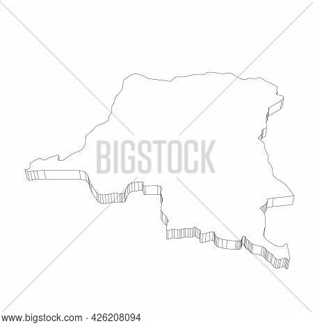 Democratic Republic Of The Congo - 3d Black Thin Outline Silhouette Map Of Country Area. Simple Flat