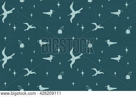 Sea Background, Beach Theme Fashion Seamless Pattern, Vintage Fabric, Wrapping With Seagull - Summer