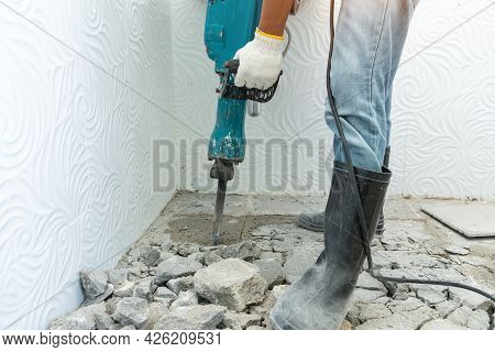 Drill Machine Using To Drilling Floor Tiles In Toilet, Construction And Masonry Work, Toilet  Renova