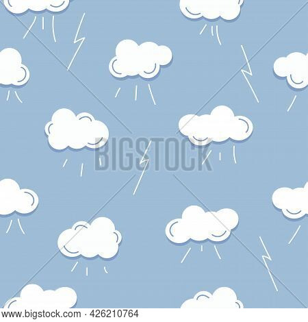 Seamless Pattern With White Cloud, Rain, Thunderstorm On Blue Background