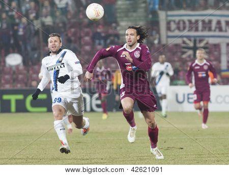 CLUJ-NAPOCA, ROMANIA - FEBRUARY 21: Antonio Cassano and Felice Piccolo in UEFA Europa League match, CFR 1907 Cluj vs UInter Milan, on 21 February, 2013 in Cluj-Napoca, Romania