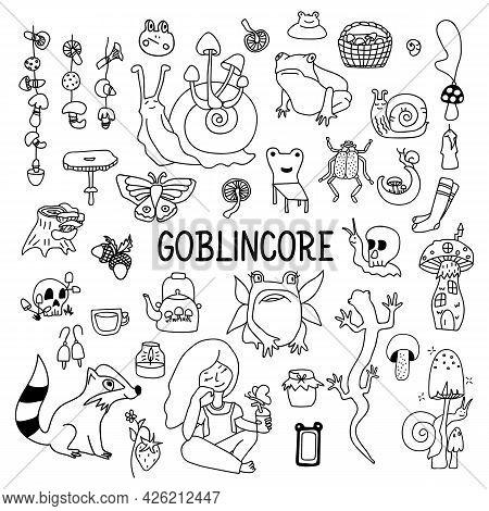 Big Set Of Goblincore Doodle. Snail, Strawberry, Frog, Girl, Teapot, Mushroom. Vector Cottagecore Il