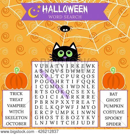 Halloween Word Search Puzzle. Crossword Game For Learning English Word About Autumn Holiday. Logic G