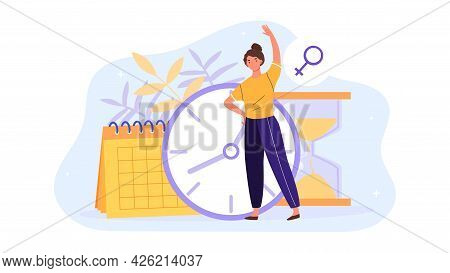 Young Female Character Is Worried About Women Biological Clock. Woman Standing With Calendar And Clo