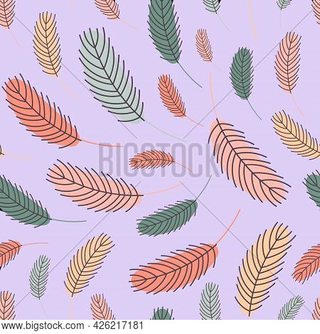 Feathers Seamless Pattern. Pattern With Feathers. Vector Flat Illustration. Design For Textiles, Pac