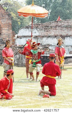 Lopburi, Thailand - Feb 16: Siamese Soldiers Traditional Show At The King Narai Reign Fair On Februa