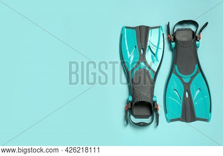 Pair Of Flippers On Color Background, Flat Lay
