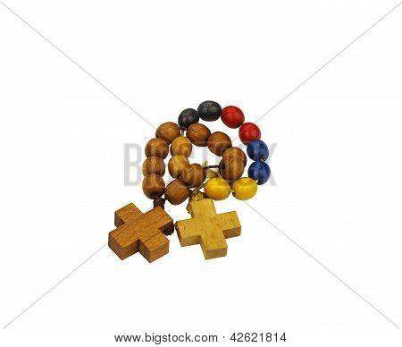 Small wood beaded rosary