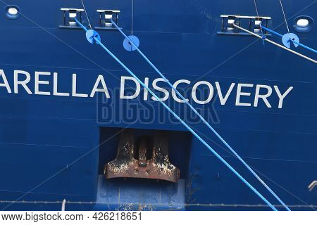 Ijmuiden, The Netherlands - July 3rd 2021: Marella Discovery At Terminal At The End Of Covid 19 Pand