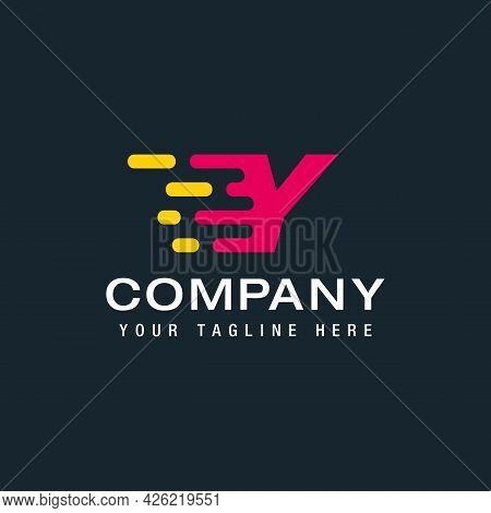 Letter Y With Delivery Service Logo, Fast Speed, Moving And Quick, Digital And Technology For Your C