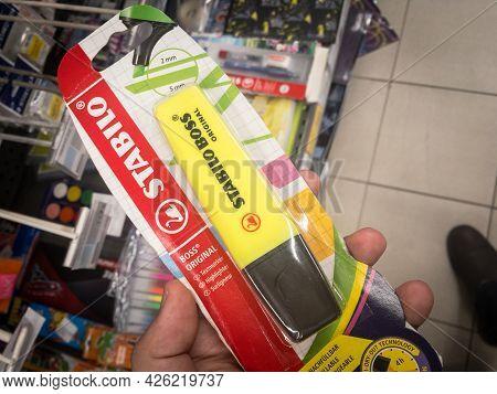 Belgrade, Serbia - July 2, 2021: Stabilo Boss Fluo Marker, Yellow, For Sale In Belgrade. Part Of Sch