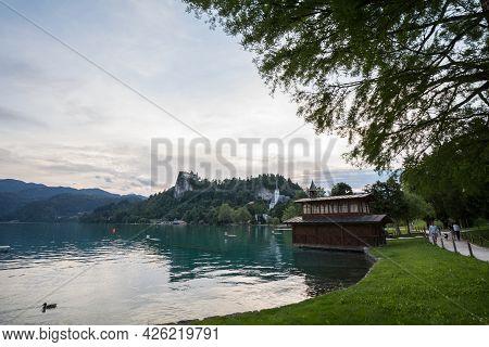 Bled, Slovenia - June 12, 2021: Panorama Of The Bled Lake, Blejsko Jezero, With Its Castle, Blejski