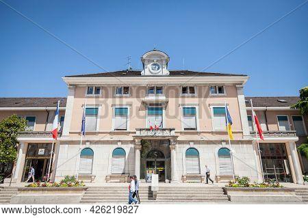 Annemasse, France - June 18, 2017: People Passing By The Mairie D Annemasse City Hall, A Major Landm