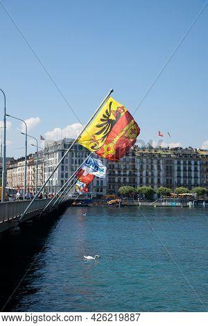 Geneva, Switzerland - June 19, 2017: Flag Of The Geneva Canton (canton De Geneve) In The City Center