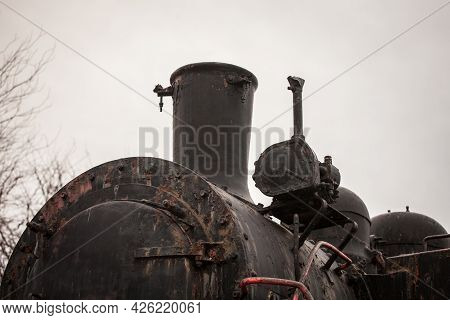 Close Up On A Steam Locomotive Chimney On An Old Machine That Is Now Rusting And Decaying, That Was