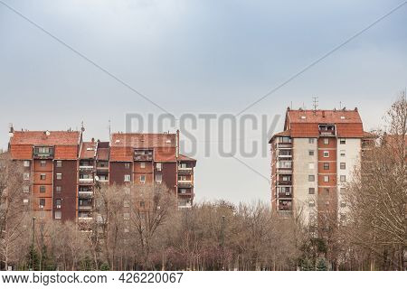 Three Communist Housing Buildings In Pancevo, Serbia. This Kind Of Towers Are A Symbol Of Socialist