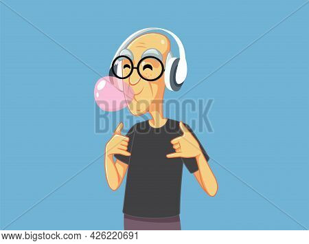 Cool Grandpa Chewing Bubble Gum Listening To Music