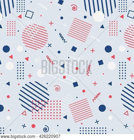 Seamless Colored Background Pattern, Various Geometric Shapes - Vector Illustration