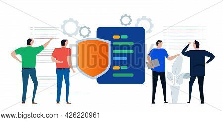 Code Security Shield Symbol Online Programming Secure Technology Programmer Working On Encrypting Da