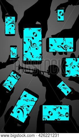 Music On Cell Phone Screens Show Notes And Musical Symbols As A Trumpet Player Is Seen Silhouetted I