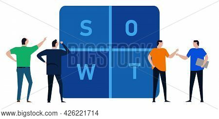 Swot Analysis Team Of Businessman Discuss Strength Weakness Opportunity And Threat
