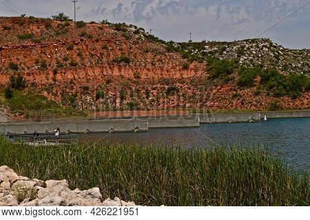 Canada Goose Brood At The Fishing Area In Lake Meredith National Recreation Area Near Fritch In The