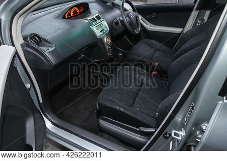 Novosibirsk, Russia - June 29, 2021: Toyota Vitz,  Steering Wheel, Shift Lever, Multimedia  Systeme,