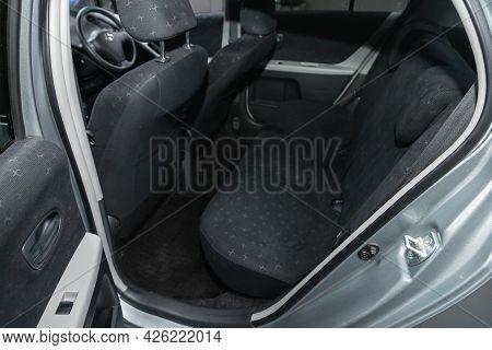 Novosibirsk, Russia - June 29, 2021: Toyota Vitz, Rear Seat For Passengers In Black Textile, Open Do