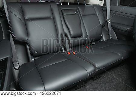 Novosibirsk, Russia - June 29, 2021: Mitsubishi Pajero Sport, Interior Design, Car Passenger And Dri