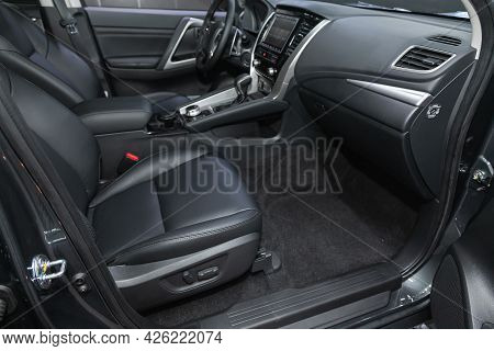 Novosibirsk, Russia - June 29, 2021: Mitsubishi Pajero Sport,  Steering Wheel, Shift Lever, Multimed