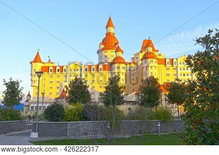 Sochi, Russia-january 7, 2018: Landscape With A View Of The Hotel In A Fabulous Style