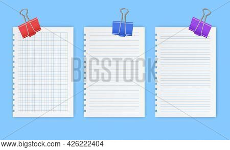 Blank Gridded Notebook Papers For Homework And Exercises, Pads Paper Sheets With Lines And Squares F