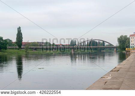 Warta River In The City Center Of Gorzow Wielkopolski, Poland.