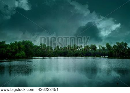 Beautiful Blue Lake And Beach Under Cloudy Sky Landscape Photography, Cloudy Sky Over Beautiful Floo