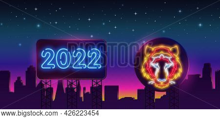 Neon Tiger 2022 On A Billboard In The Night City. Night Bright Neon Sign, Colorful Billboard, Light