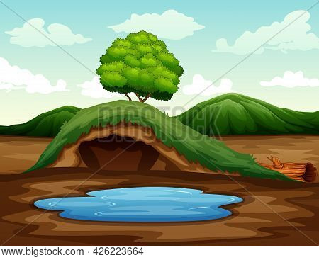 Empty Underground Animal Hole With A Small Pond Illustration