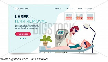 Laser Hair Removal Landing Page Template. Web Page With Vector Illustration Of A Beautician Doing Ar